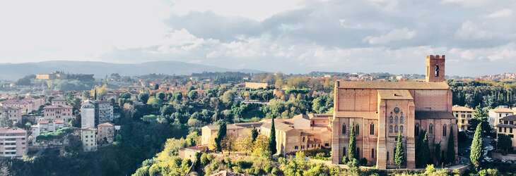 Vista of Siena showing rooftops and hills in the distance