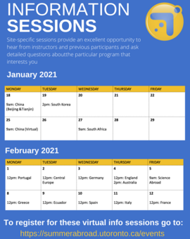 2021 Virtual Information Sessions