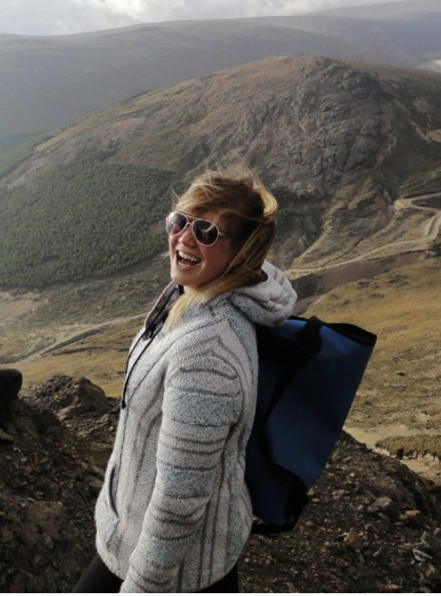 Female student in white sweater, Andes mountains